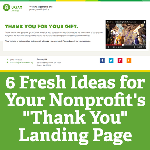 "6 Fresh Ideas for your Non-profit's ""Thank You"" Landing Page"